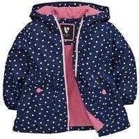 Mini V by Very Girls Polka Dot Rain Jacket, Navy, Size Age: 12-18 Months, Women