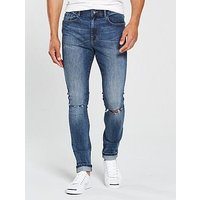 V by Very Skinny Slash Knee Jean - Mid Wash Blue , Midwash, Size 32, Inside Leg Short, Men