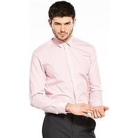 V by Very Easy To Iron Long Sleeve Slim Fit Shirt, Pink, Size 16, Men