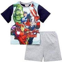 Marvel Avengers Boys Shorty Pyjamas, Multi, Size Age: 7-8 Years