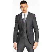 V by Very Skinny Herringbone Jacket - Charcoal , Charcoal, Size Chest 42, Length Long, Men
