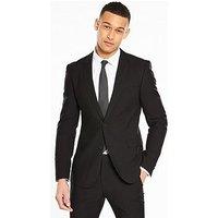 V by Very Skinny Herringbone Jacket, Black, Size 38, Length Long, Men