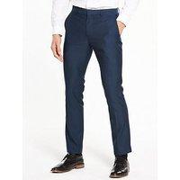 V by Very Skinny Herringbone Trouser, Dark Airforce, Size 36, Length Long, Men