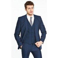 V by Very Slim Herringbone Jacket, Dark Airforce, Size 40, Length Regular, Men