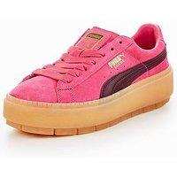 Puma Suede Platform Trace Block - Pink/Burgundy , Pink/Burgundy, Size 5, Women