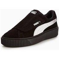 Puma Platform Strap Satin En Point - Black , Black/Black, Size 6, Women