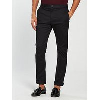 V by Very Slim Fit Stretch Chino, Black, Size 32, Inside Leg Long, Men