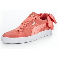 Puma Suede Bow - Pink , Pink, Size 6, Women
