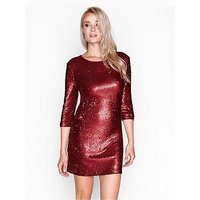 Girls on Film Sequin Bodycon Mini Dress - Matt Red, Red, Size 8, Women