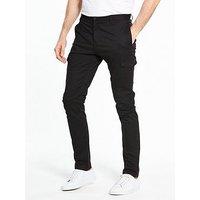 V by Very Cargo Slim Fit Trouser, Black, Size 40, Inside Leg Regular, Men