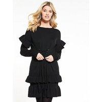 V by Very Frill Hem And Sleeve Corset Waist Dress, Black, Size 10, Women