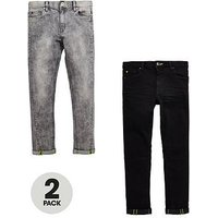 Boys, V by Very 2 Pack Skinny Jeans, Black/Grey, Size Age: 15 Years