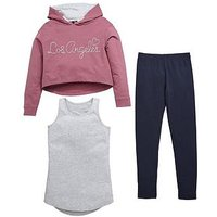 V by Very To L.A 3 Piece Hoodie Outfit, Navy, Size Age: 14 Years, Women