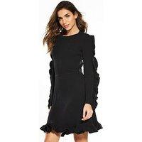 V by Very Ruffle Sleeve Rib Knitted Dress - Dress, Black, Size 10, Women