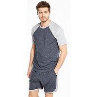 V by Very Ss Raglan T & Jersey Shorts, Navy/Grey Marl, Size Xl, Men