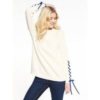 V by Very Lace Up Sleeve Textured Knit Jumper - Ivory, Ivory, Size 14, Women