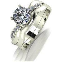 Moissanite 9ct Gold 1.10ct Equivalent Bridal Ring Set, Gold, Size I, Women