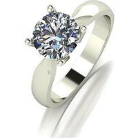 Moissanite MOISSANITE 9CT GOLD 1.5ct Equivalant SOLITAIRE RING, White Gold, Size K, Women