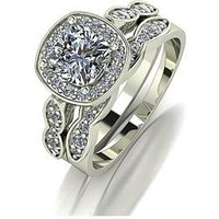 Moissanite 9ct Gold 1.75ct Equivalent Total Cushion Cut Ring Set, White Gold, Size N, Women
