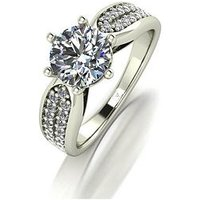 Moissanite MOISSANITE PREMIER 9CT GOLD 1.75ct Eq total SOLITAIRE RING, White Gold, Size N, Women