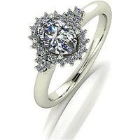 Moissanite 9ct Gold 1.10ct Oval Centre Cluster Ring, White Gold, Size T, Women