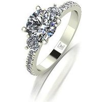Moissanite Premier Collection 9ct Gold 1.5ct Equivalent Trilogy Ring, Gold, Size M, Women
