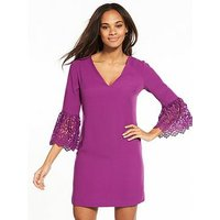 V by Very Lace Frill Sleeve Tunic, Purple, Size 12, Women