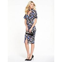 V by Very Workwear Printed Wiggle Dress - Floral Print, Floral Print, Size 10, Women