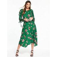 V by Very Frill Open Sleeve Hanky Hem Midi Dress, Rose Print, Size 10, Women