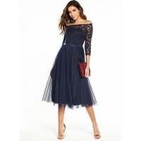 V By Very Bridesmaid Lace Bardot Tulle Prom Dress - Navy