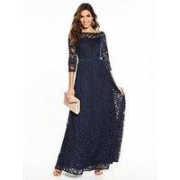V By Very Bridesmaid Lace Maxi Dress - Navy