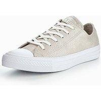 Converse Chuck Taylor All Star Tipped Metallic Ox, Grey/White, Size 4, Women