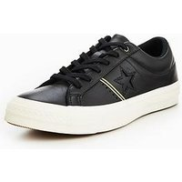 Converse One Star Piping Pack Leather Ox - Black , Black/Gold, Size 12, Women