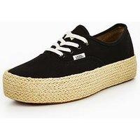 Vans Authentic Platform Espadrille - Black , Black, Size 6, Women