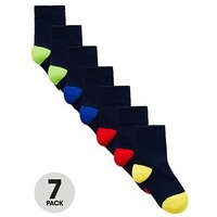 Mini V by Very Boys 7 Pack Colour Heel And Toe Socks, Multi, Size 3-5.5