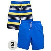 V by Very Boys 2 Pack of Board Shorts - Yellow/Blue, Yellow/Blue, Size Age: 10 Years