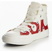 Converse Chuck Taylor All Star Converse Wordmark Hi Childrens Trainer, White/Red, Size 2