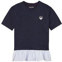 Tommy Hilfiger Girls Ruffle Hem T-shirt, Black Iris, Size Age: 5 Years, Women