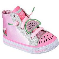 Skechers Girls Twinkle Toes: Shuffles - Patch Party Hi Top, Pink, Size 5 Younger