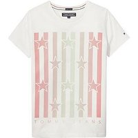 Tommy Hilfiger Girls Star Stripe Short Sleeve T-shirt, Bright White, Size Age: 5 Years, Women