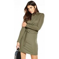 V by Very Ribbed D Ring Belted Jersey Dress, Khaki, Size 24, Women