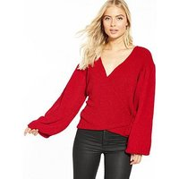 V by Very Wrap Balloon Sleeve Top, Red, Size 10, Women
