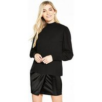V by Very Balloon Sleeve Snit, Black, Size 16, Women