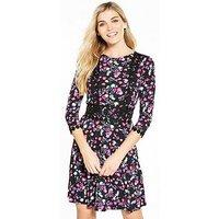 V by Very Crochet Trim Skater Dress, Ditsy Print, Size 18, Women