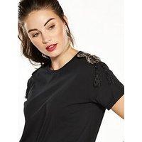 V by Very Embellished Shoulder Tshirt, Black, Size 14, Women