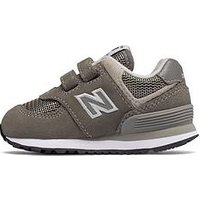 New Balance New Balance 574 Hook & Loop Infant Trainer, Grey, Size 5