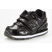 New Balance New Balance 574 Hook & Loop Infant Trainer, Black, Size 7