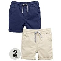 Mini V by Very Boys 2 Pack Pull On Shorts, Navy/Stone, Size Age: 5-6 Years