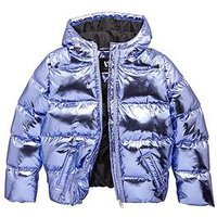 V by Very Metallic Padded Hooded Jacket, Purple, Size Age: 11 Years, Women