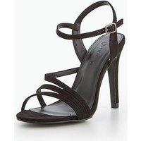 V by Very Tiana Wide Fit Strappy Sandal - Black, Black, Size 4, Women
